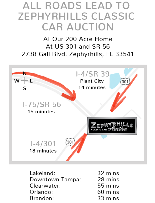 Map showing location of Zephyrhills Classic Car Auction